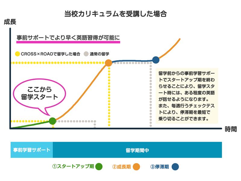 事前学習ありの英語成長曲線の図